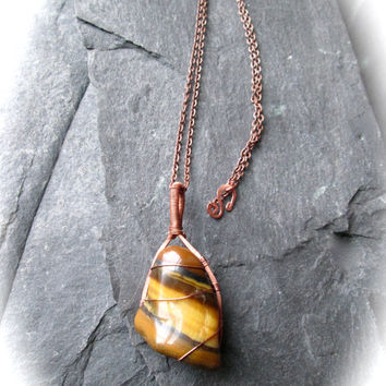 Tiger Eye Necklace, Wire Wrap Hammered Copper Pendant on Copper Iron Chain, Tumbled Natural Gemstone, Wicca Shaman Unisex Necklace, UK made