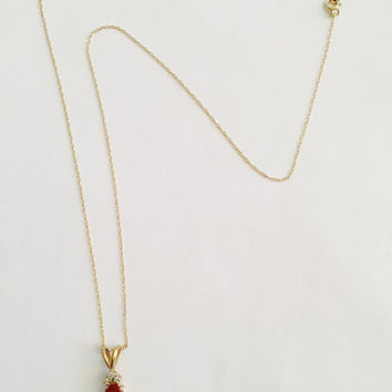 "Natural Faceted Ruby with Prong Set Diamond Chips in 14k Yellow Gold Basket Setting on an 18"" Fine Chain, July Birthstone"