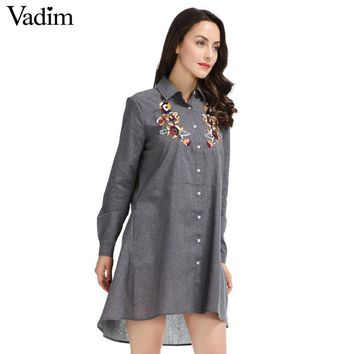 Women Vintage Floral Embroidery Sequined Mini Dress Pockets Long Sleeve Grey Ladies Casual Summer Dresses