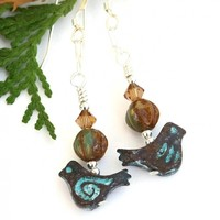 Rustic Bird Handmade Earrings, Mykonos Turquoise Patina Pewter Spirals Dangle Jewelry