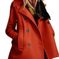 Orange Double Breasted Woolen Coat - Choies.com