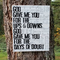 16x20 God gave me you  Blake Shelton   Lyrics vintage by Houseof3