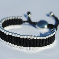 Friendship Link Bracelet. Silver Plated Woven in Black Macrame. (Similar to the Links of London Brand) (One Direction)