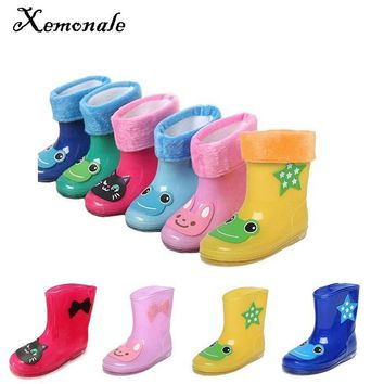 Xemonale Kid Cartoon Rainboots Brand Girls Antiskid Wellies Cotton Velvet New Fashion Boys Autumn Winter Warm Rain Boots