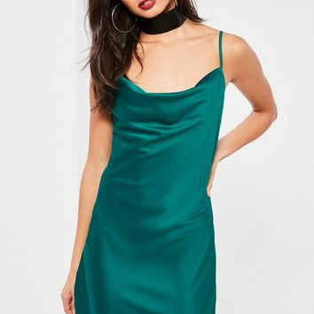 Missguided - Teal Satin Cowl Front Shift Dress
