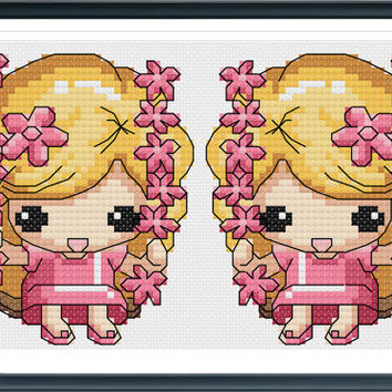 Cross Stitch Pattern Kawaii - Girl on a Swing -  Cross Stitch PDF - Instant Download