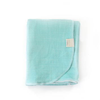 Organic Cotton Swaddle Blanket in Ocean Blue