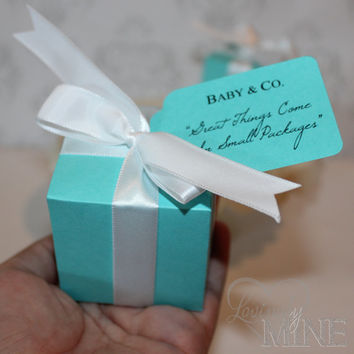 Favors - Tiffany & Co. Inspired Baby Shower Box Favors  - Baby and Co - 10 Boxes  - Tiffany Blue and White