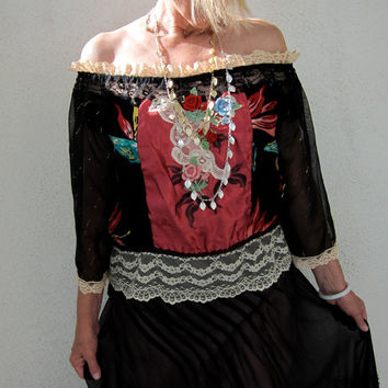 Bird of Paradise Gypsy Top - Vintage Lace Collage Blouse - 80s Hawaiian Hippie Boho - M