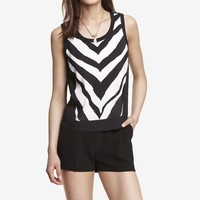 ZEBRA PRINT SHORT SILKY SHELL TOP