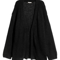 Loose-knit cardigan - Black - Ladies | H&M GB