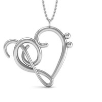 Sterling Silver Necklace Music Note Symbol: Heart of Treble and Bass Clefs Pendant © with Polishing Cloth