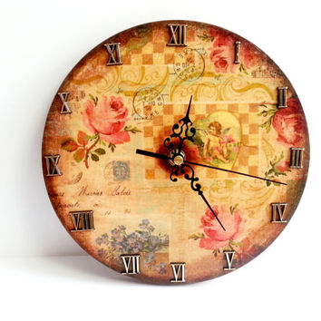 Decoupage wooden wall clock gift idea patinated antiqued romantic style vintage roman numbers