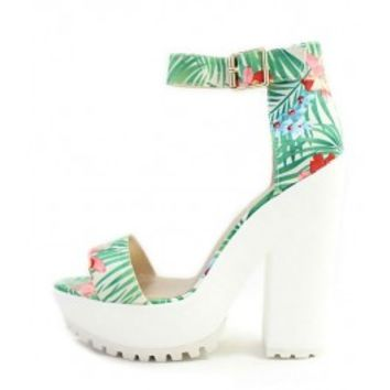 Qupid Therapy-16 Green Platform floral Print Lug Sole Sandals wowtrendz