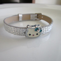 Kitty charm silver watch band bracelet - gift for children - gift for girls - bracelet for girls, kitty bracelet, children bracelet, hello