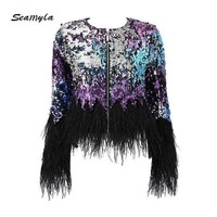 VONE05F8 seamylafashion luxury runway jackets elegant Women coats black feathers sequins outerwear long sleeve celebrity coat