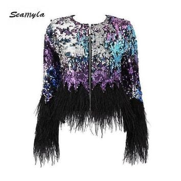 DCCKON3 seamylafashion luxury runway jackets elegant Women coats black feathers sequins outerwear long sleeve celebrity coat