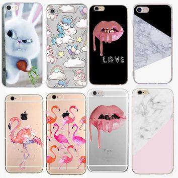 For iPhone6 Case Unicorn Marble Sexy Lips Case For iphone 6S 6 7 7 8 Plus Case Silicone Back Cover for iPhone X Phone Case Cover