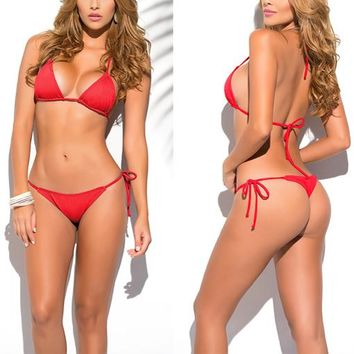 Solid Red Classic Thong Bikini Women's Swimsuit Summer Beach String Bikinis Sexy Female Bathing Suit Multi Color Swimwear  1667