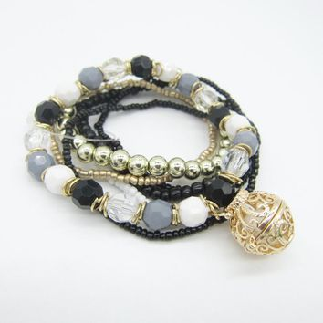 VidaLuxe™ Essential Oil Charm Bracelet Stack (gray)