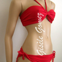 Red Swimsuit set with a String Bikini Bottom with bow ties sides - Multi-way and Multi-Kini Swimsuit set