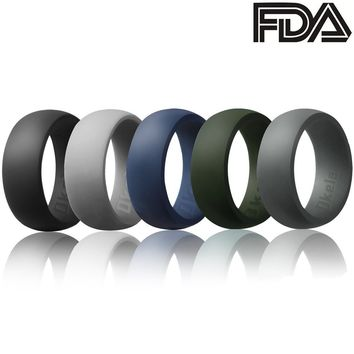 Wedding Ring Men Silicone Bands 5 Rack Rubber Sport Comfortable Set Size 6 GIFT