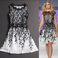 Plus Size Formal Dresses 2015 Fashion Runway Dress with Leaf Printed Panelled Sleeveless Knee Length Elegant Slimming Office Prom Dress DHL