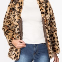 Casual Hooded Leopard Printed Fluffy Coat