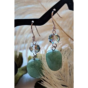 OOAK Artisan Crafted Sterling Silver Jadeite Crystal Dangle Earrings