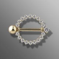 14Kt. Gold Nipple Shield W/ Clear CZ - 14G (1.6mm), 16mm Length - Sold as a Single Item