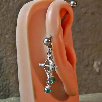 Bow and Arrow Industrial Barbell  Dangling with bead 14ga Body Jewelry Ear Jewelry Double Piercing