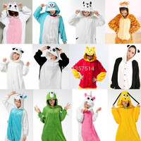 NEW Adult Pajamas Cosplay Cartoon Animal Onesuit Sleepwear Cat Tiger Winnie Bear Panda Dog Unicorn Free Shipping