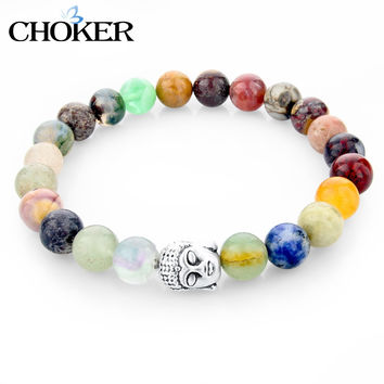 CHOKER Tiger Fatima Evil Eye Buddha Skull Bracelets Vintage Silver Natural Stone Bracelet For Women Men Turkish Jewelry 2016