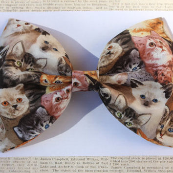 Large Fabric Kitten Pattern Hair Bow by ArtOfMaking on Etsy