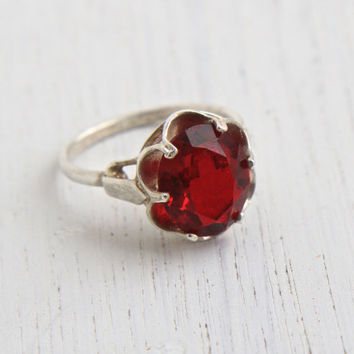 Vintage Ruby Red Glass Stone Ring - Sterling Silver Signed Sarah Coventry Adjustable Cocktail Ring Jewelry / July Birthstone Solitaire