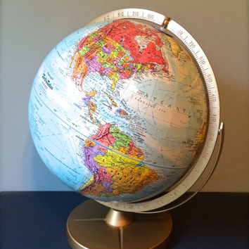 "Vintage Globe, Replogle World Motion 12"" Distance Globe, Mid-Century Globe, World Maps, Togographical Map"