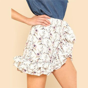 Womens High Waist Asymmetrical  Zipper Floral Skirt Tiered Layered Ruffle Trim Botanical Skirt