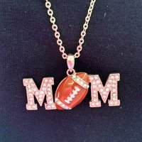 Football MOM necklace with Crystals