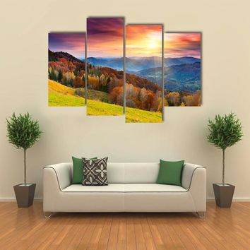 Mountain Autumn Landscape With Colorful Forest Multi Panel Canvas Wall Art