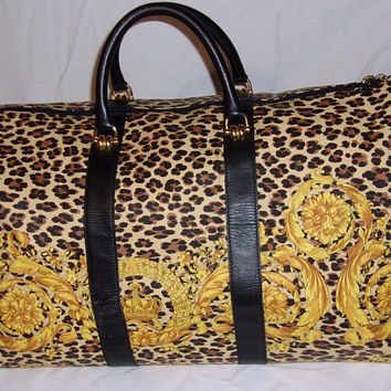 Rare Vintage Gianni Versace Vintage BAROQUE Leopard Print Keepall Luggage Duffel Bag Animal Print
