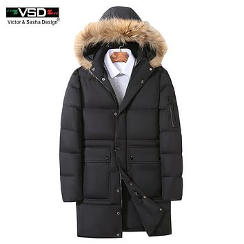 VSD 90% White Duck Down Men's Jackets Quality Handsome Warm Long Fashion Business Winter Clothing Casual Coat Male Parka VS1661