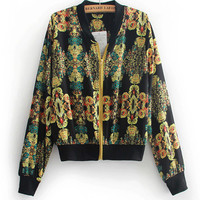 Printed Long Sleeve Baseball Zipper Jacket