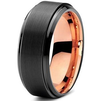 8mm Rose Gold Tungsten Beveled Step Edge Black Pipe Cut