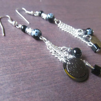 Native american style black dangly chain earrings