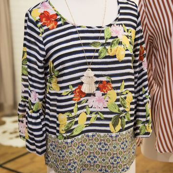 Ivy Floral And Stripe Top, Black/Yellow