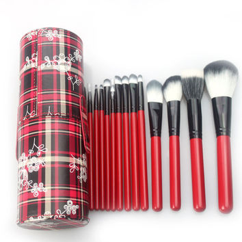 14Pcs Hot Sale Big Size Red Plaid Makeup Brush Sets [9647073487]