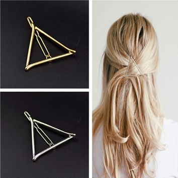 Vintage Gold/ Silver Color Metal Triangle Hairpin Girls' Hair Clips Women Fashion Hair Accessories