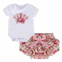 2Pcs/Lot Newborn Infant Baby Girls Clothing Sets Cotton Flower Summer Romper+Shorts Baby Fashion Clothes