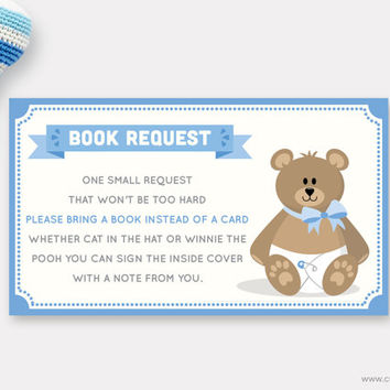 Teddy Bear Book Request Card Printable for Baby Boys, Stuffed Bear Blue Card, Bring a Book Instead of a Card, Insert, Instant Download