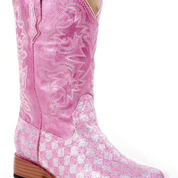 Roper Youth Boot Bling Sqtoe Faux Leather Sole Boots Faux Leather Wide Sq Toe Western Boot